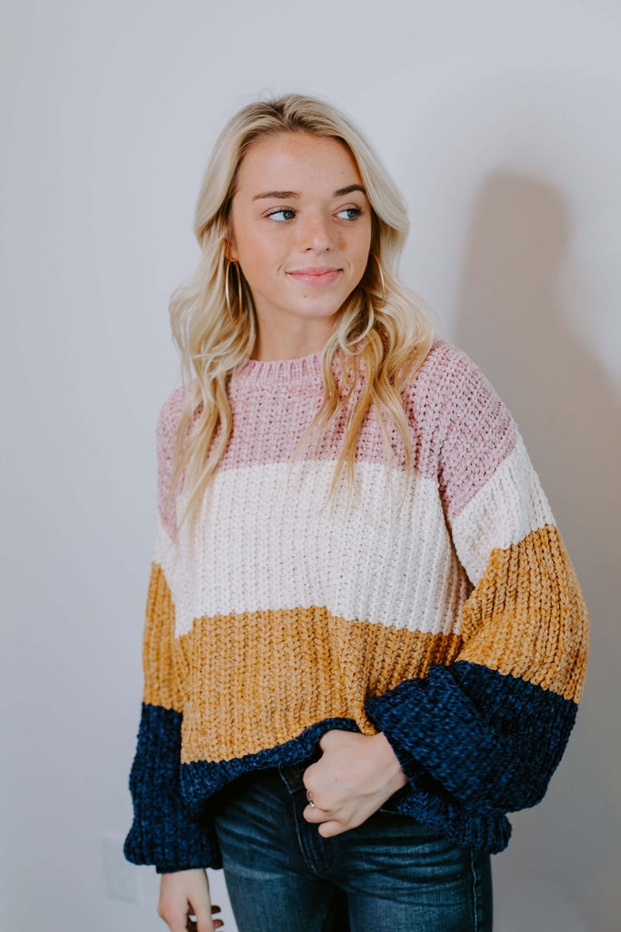 colorblock chenille sweater