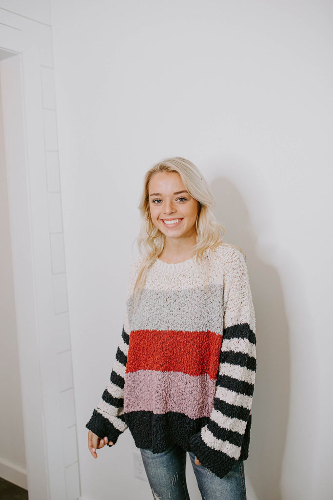Popcorn Multi Stripe Sweater