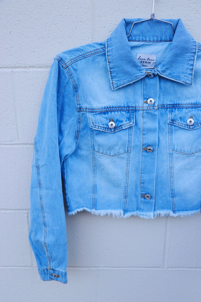 Denim Jacket with Frayed Bottom