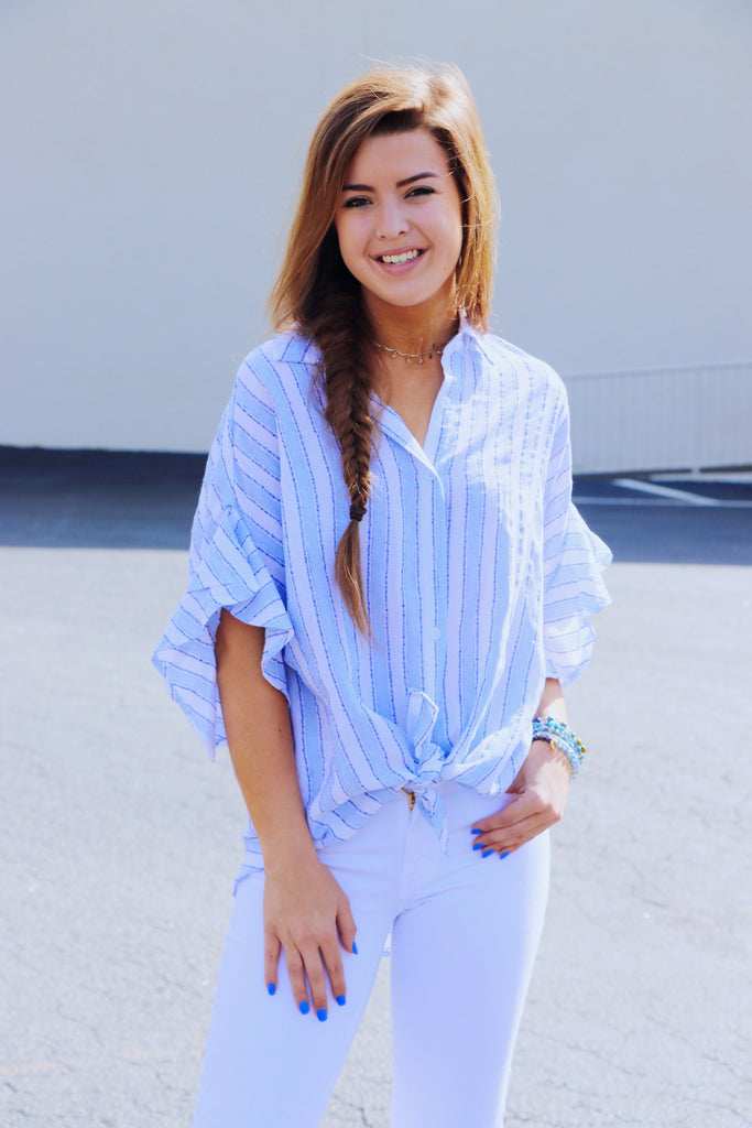 Frill Sleeve Stripe Button Down Top