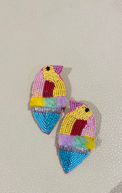 beaded tropical bird statement earrings