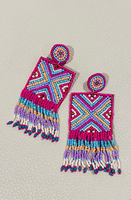 beaded aztec statement earrings