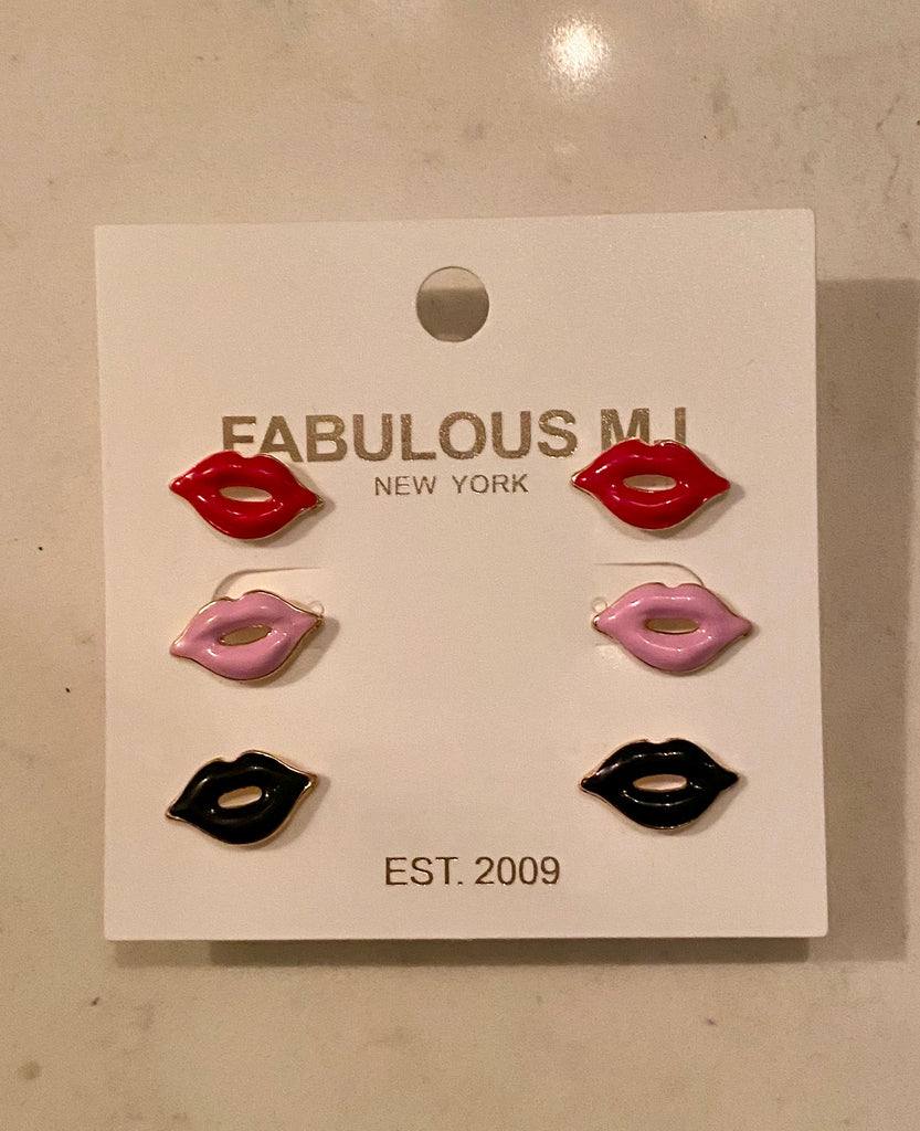Lip Stud Earring Set