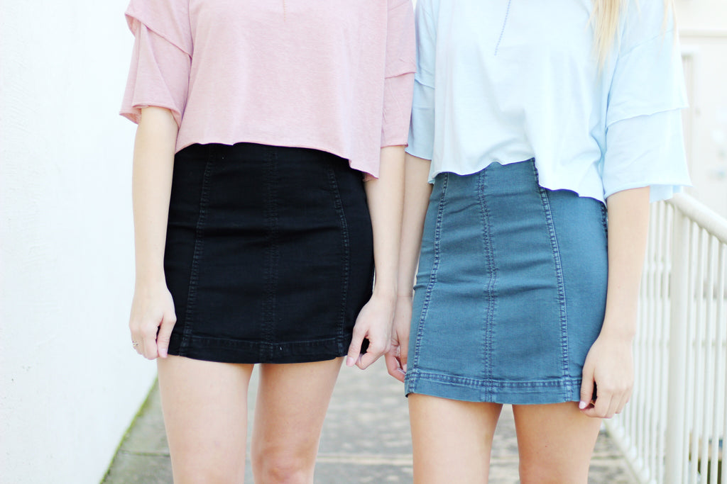 Seam Detail Denim Skirt