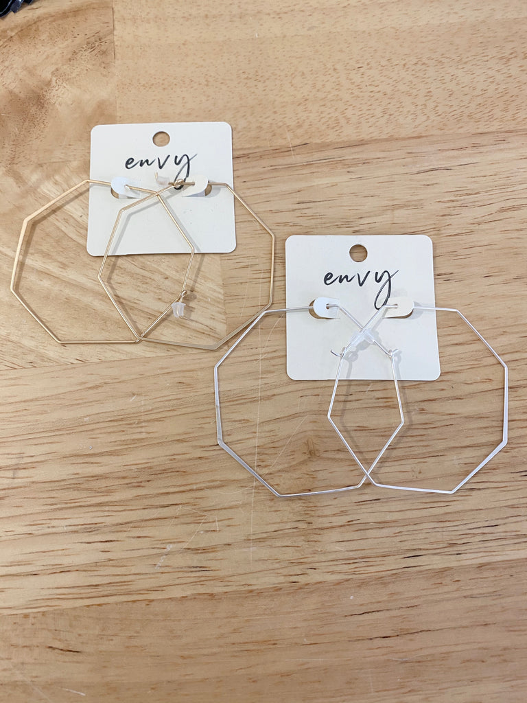 Thin Metal Hexagon Hoops