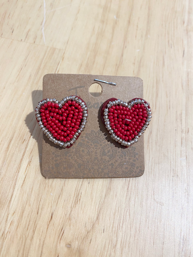 Small Red Beaded Studs