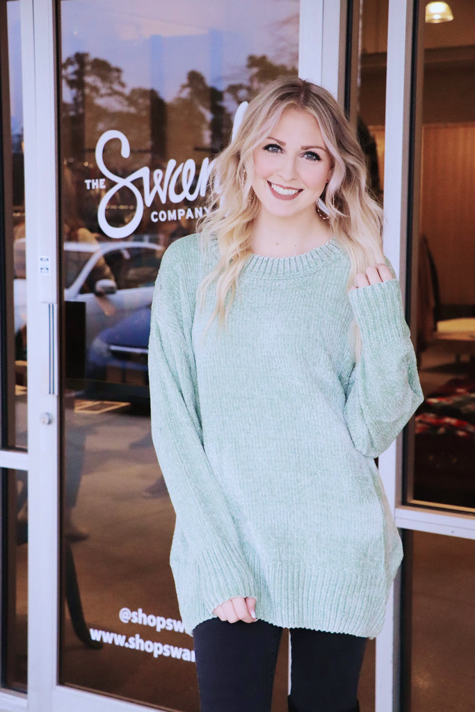 Chenille Knit Puff Sleeve Tunic