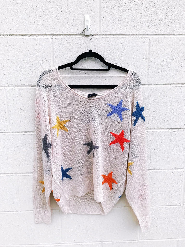 Knit Multi Color Star Sweater