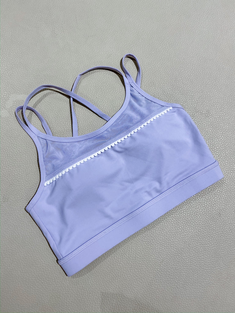 Scallop Lace Trim Sports Bra