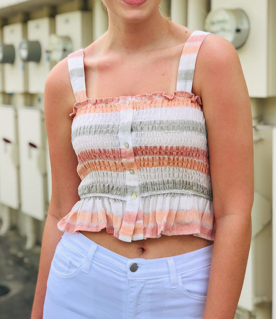 Smocked Striped Crop Top