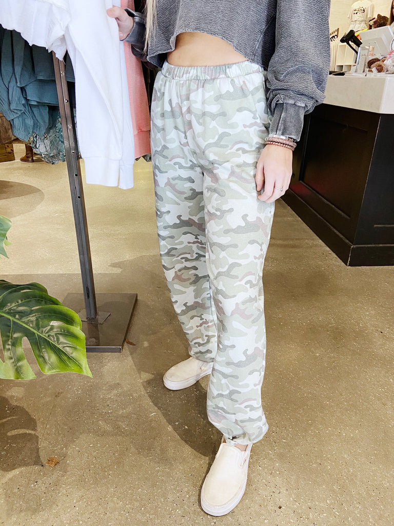 soft fitted camo joggers