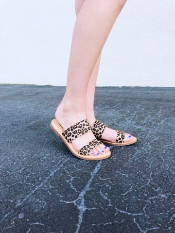 Animal Print Double Strap Sandals