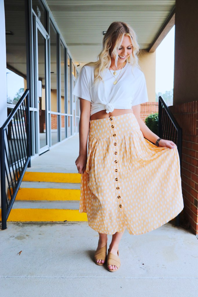Long Button Up Patterned Skirt