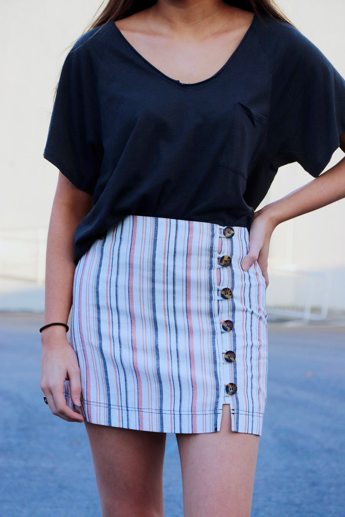Stripe & Button Linen Skirt