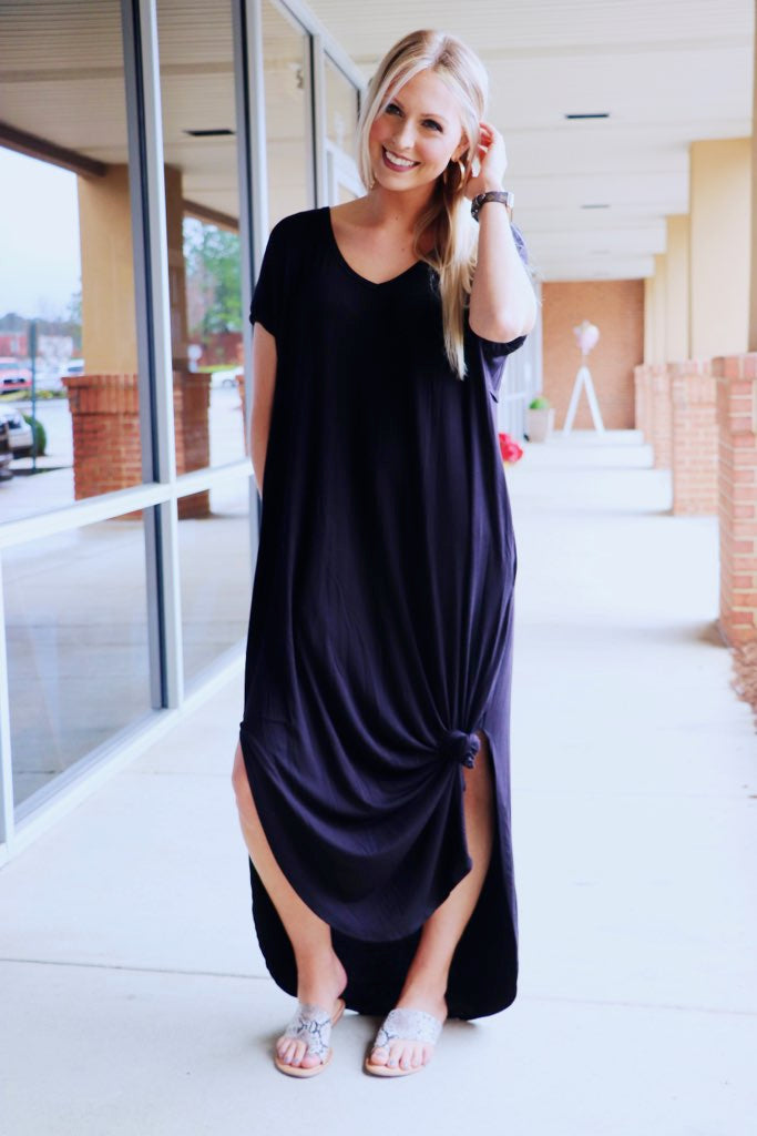 Jersey Side Slit Maxi Dress