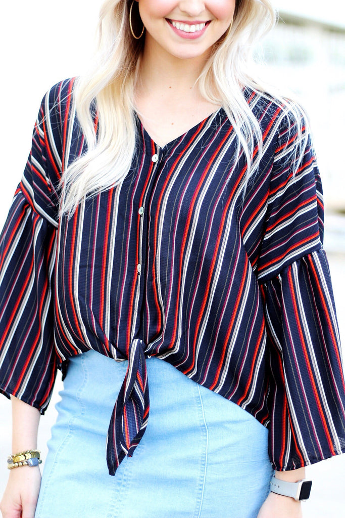 Bell Sleeve Stripe Blouse