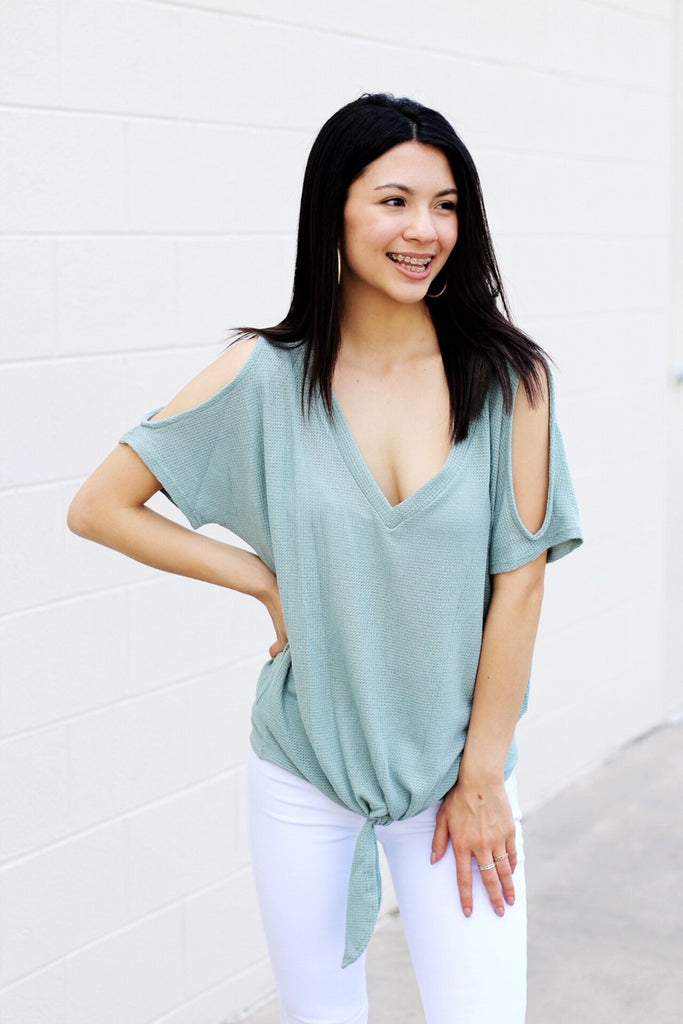 Cold Shoulder V-Neck Knot Top