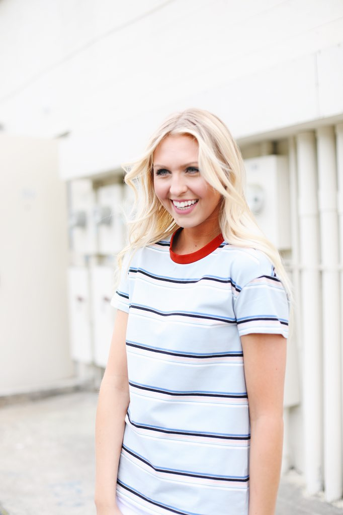 Multi Stripe Short Sleeve Top