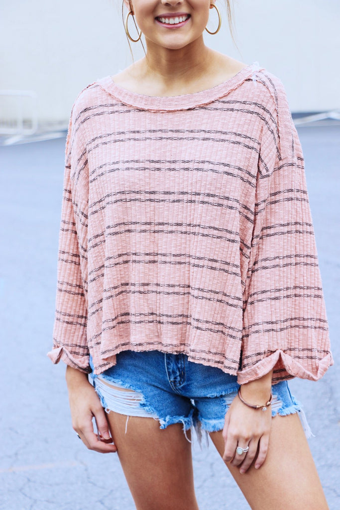 Wide Sleeve Ribbed Stripe Top