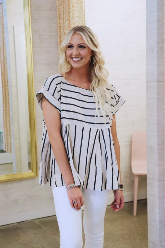 Stripe Pleated Babydoll Top