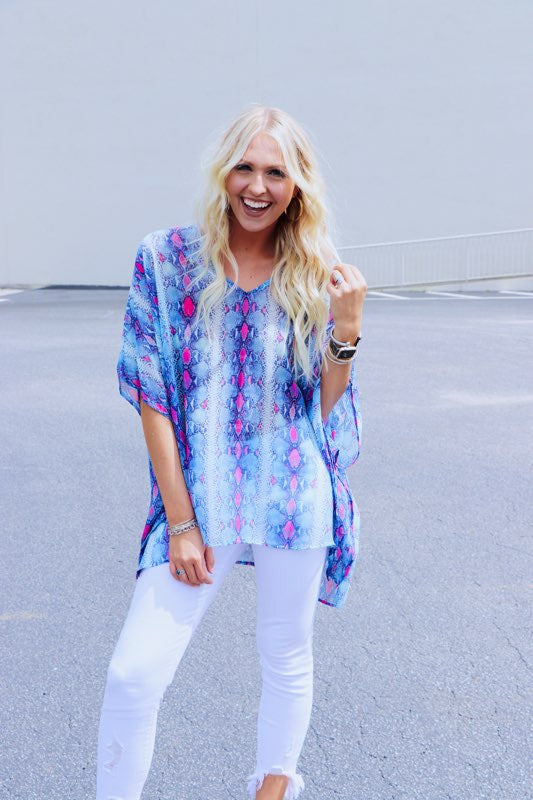 Printed V Neck Cocoon Blouse