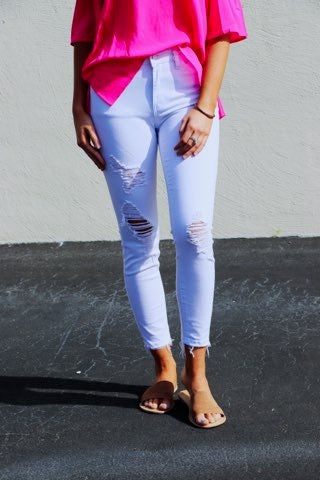Destroyed Hem White Skinnies