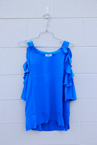 Cold Shoulder Top with Ruffle