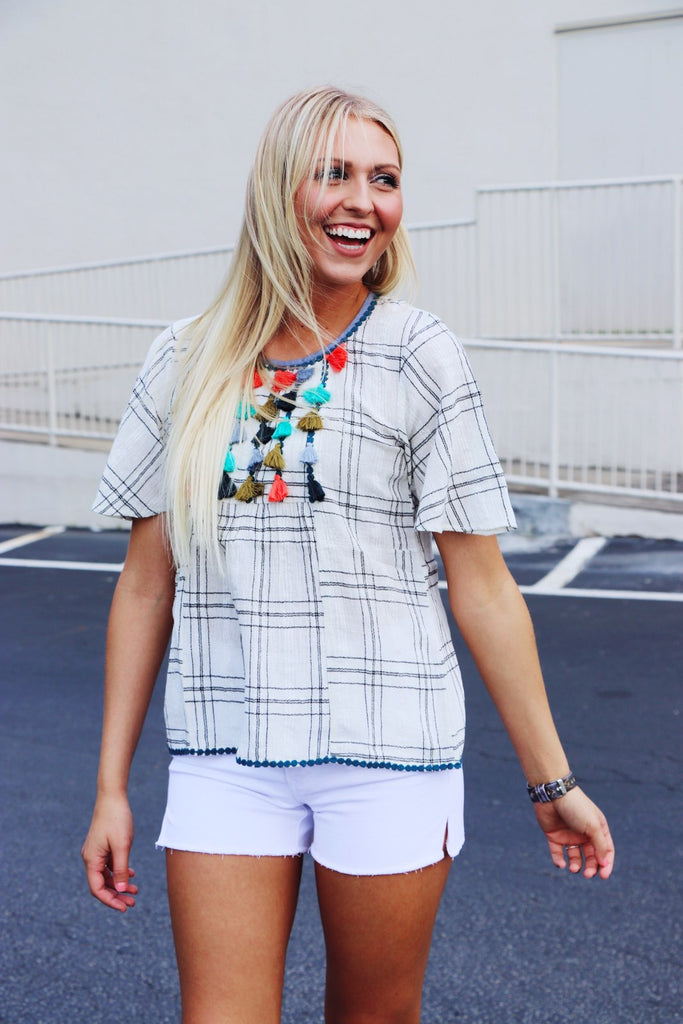 Checkered Top with Tassel Bib