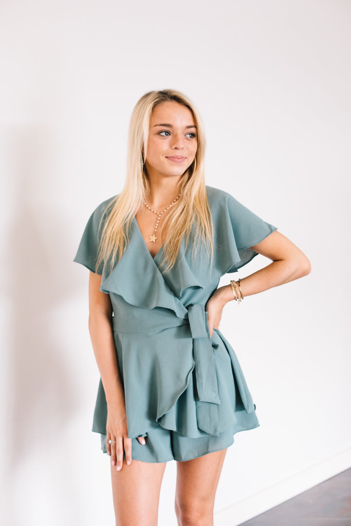 Ruffle Collar Open Back Romper