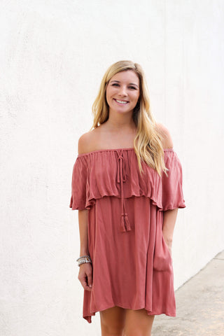 Off The Shoulder Ruffle Tassel Dress