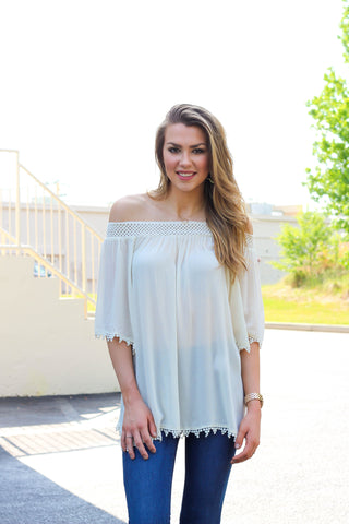 Off The Shoulder Lace Trim Blouse