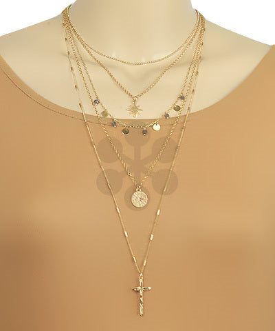 Layered Cross & Star Necklace