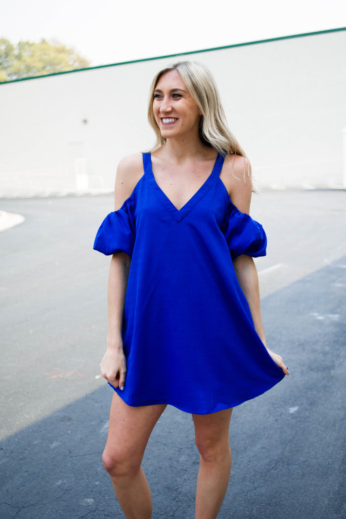 Vneck Cold Shoulder Dress
