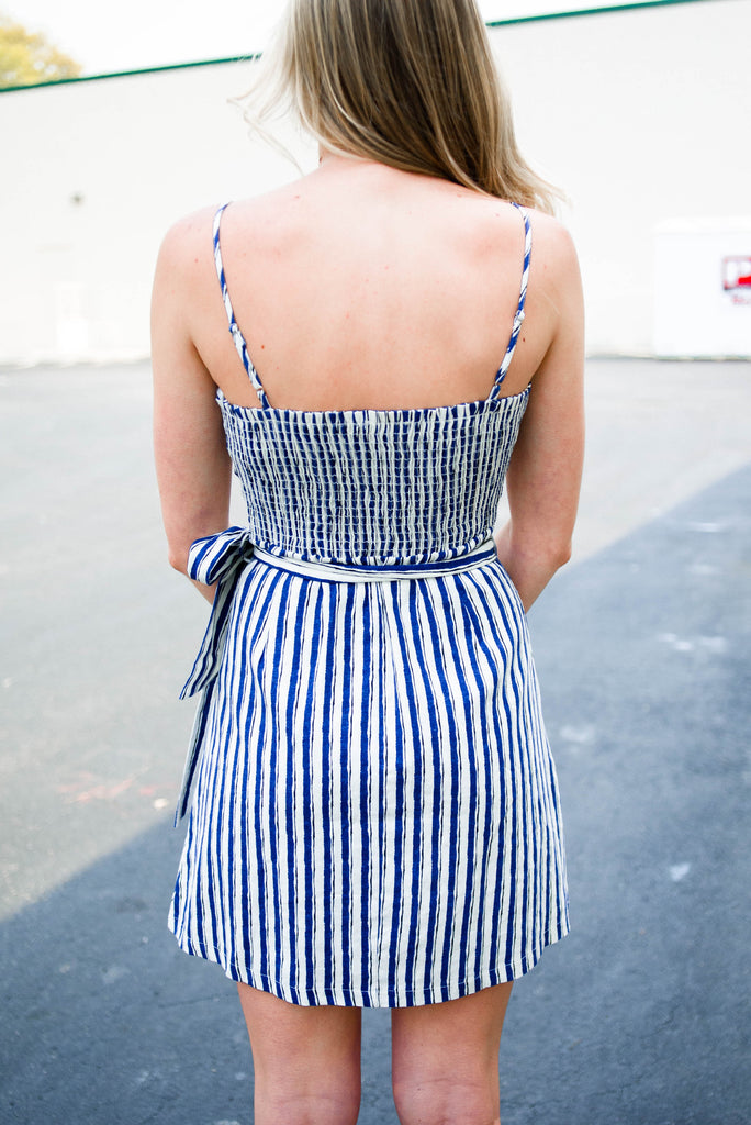 Stripe Cut Out Wrap Dress