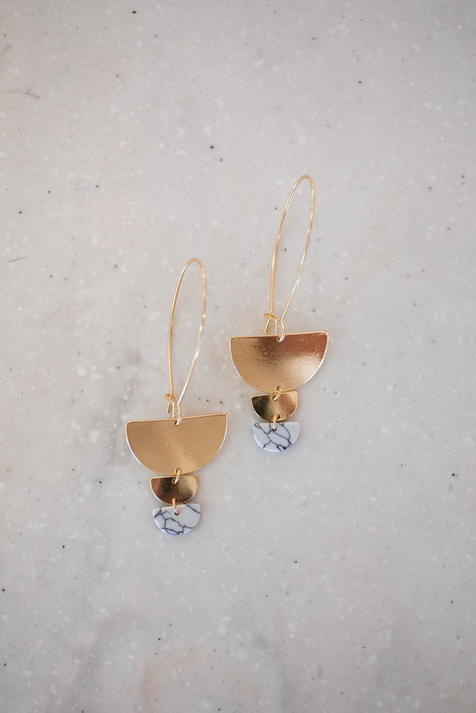 Wedge & Marble Earrings