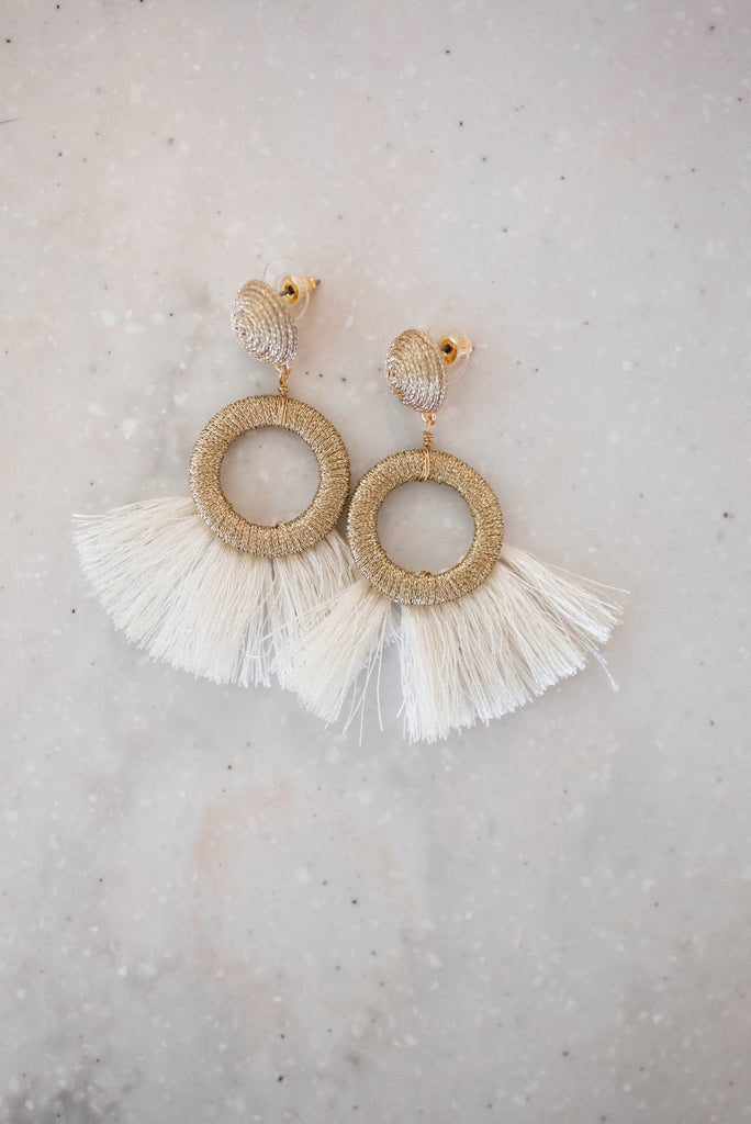 Fringe Stud Statement Earrings