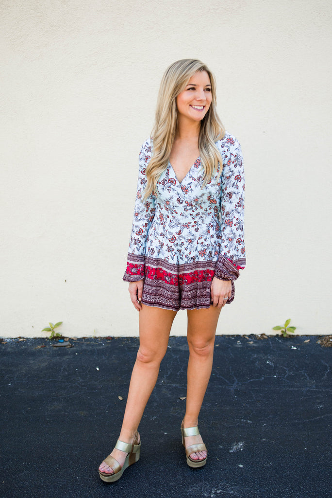 Lace Up Back Floral Romper