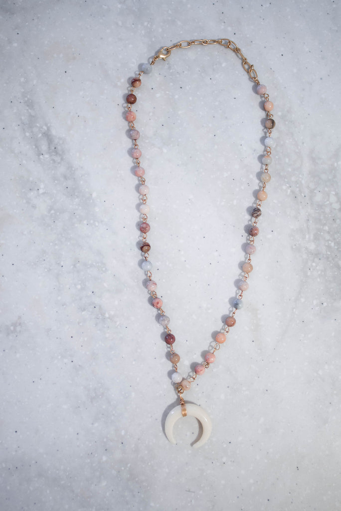 Mauve Beaded and Horn Necklace
