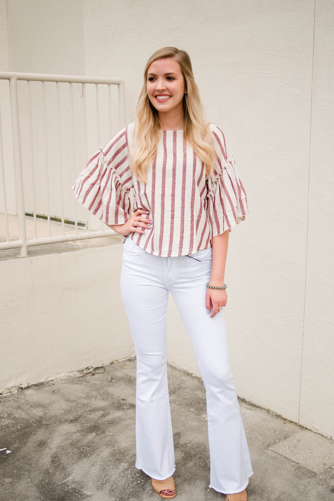 Stripe Wide Bell Sleeve Top