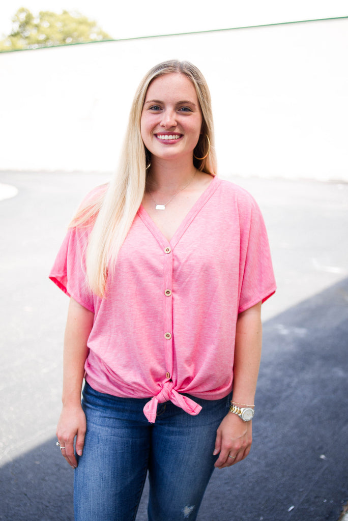 Solid Button Down Knot Top