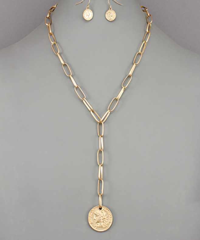 Coin Chain Y Necklace