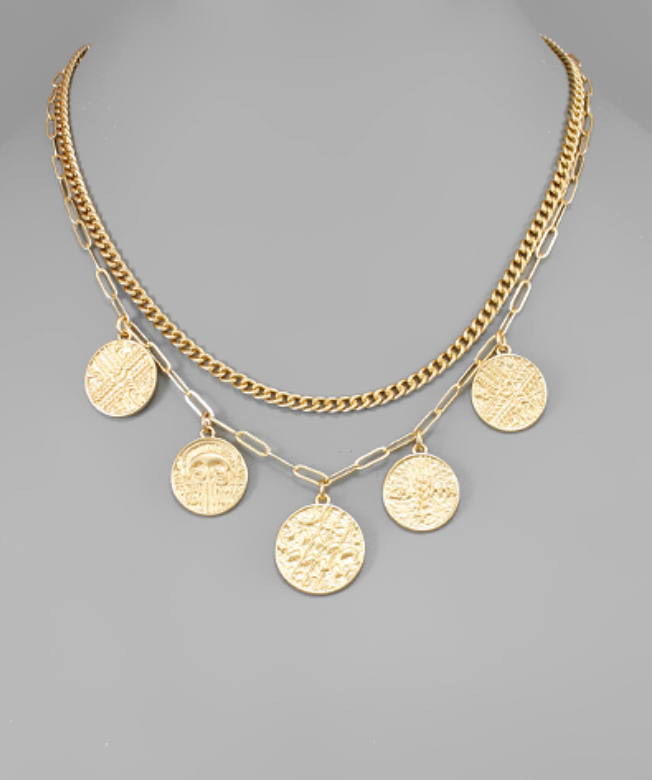 Five Coin Layer Necklace
