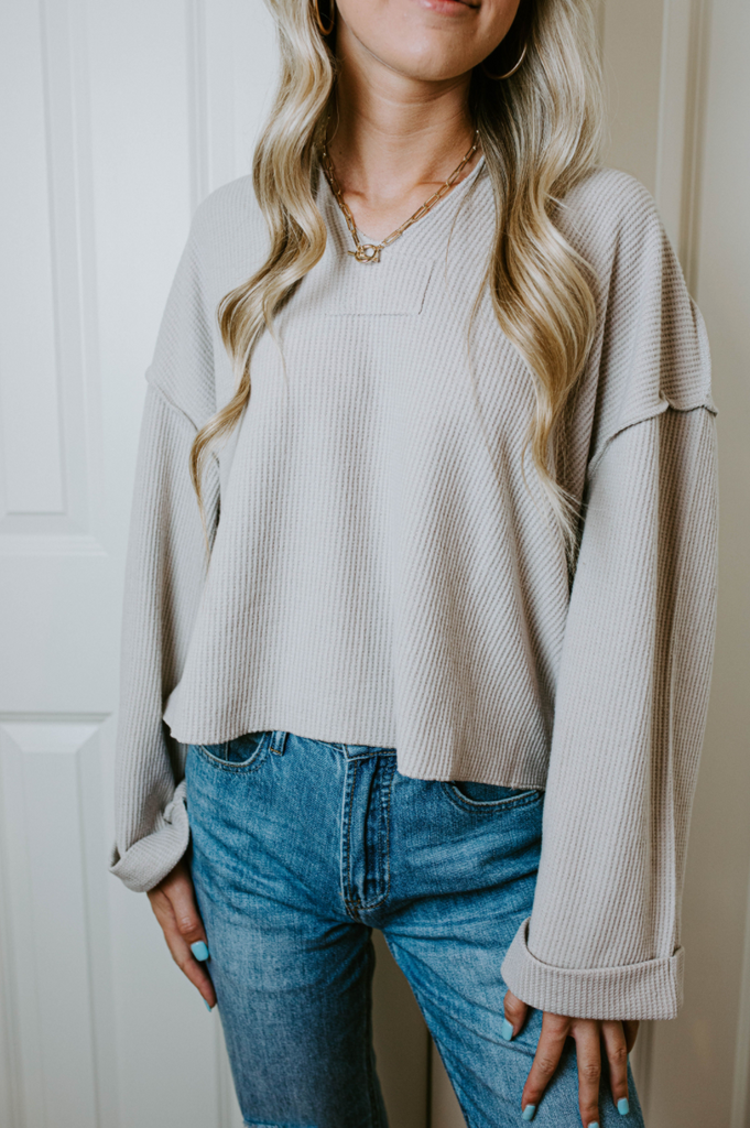 Waffle Knit Notch Neck Top