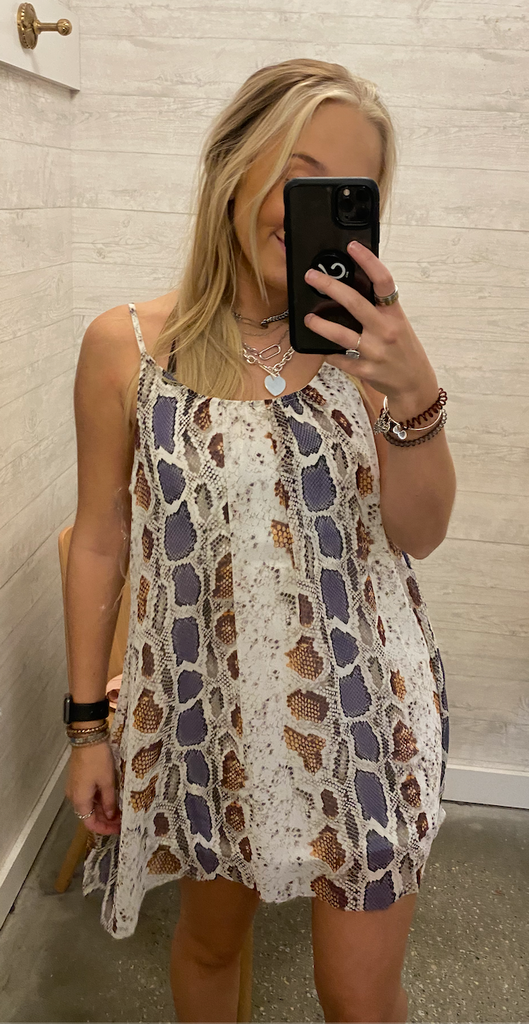 Cropped Snakeskin Mini Dress