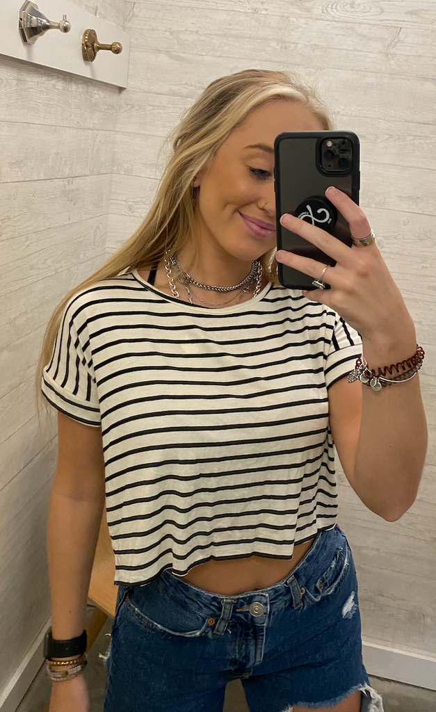 Striped Short Sleeve Crop Top