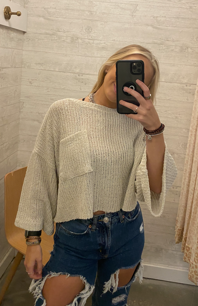 Cropped Front Pocket Sweater
