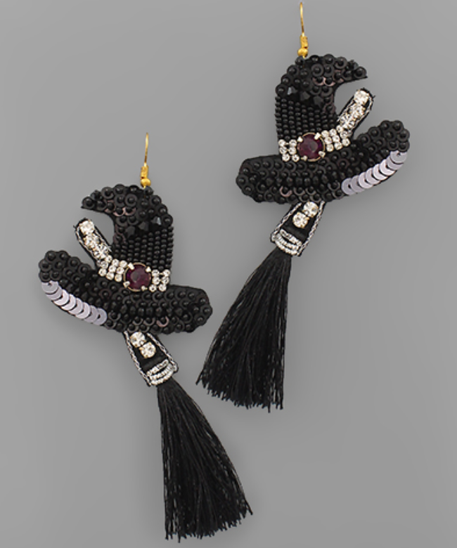 Witch Hat Tassel Earrings
