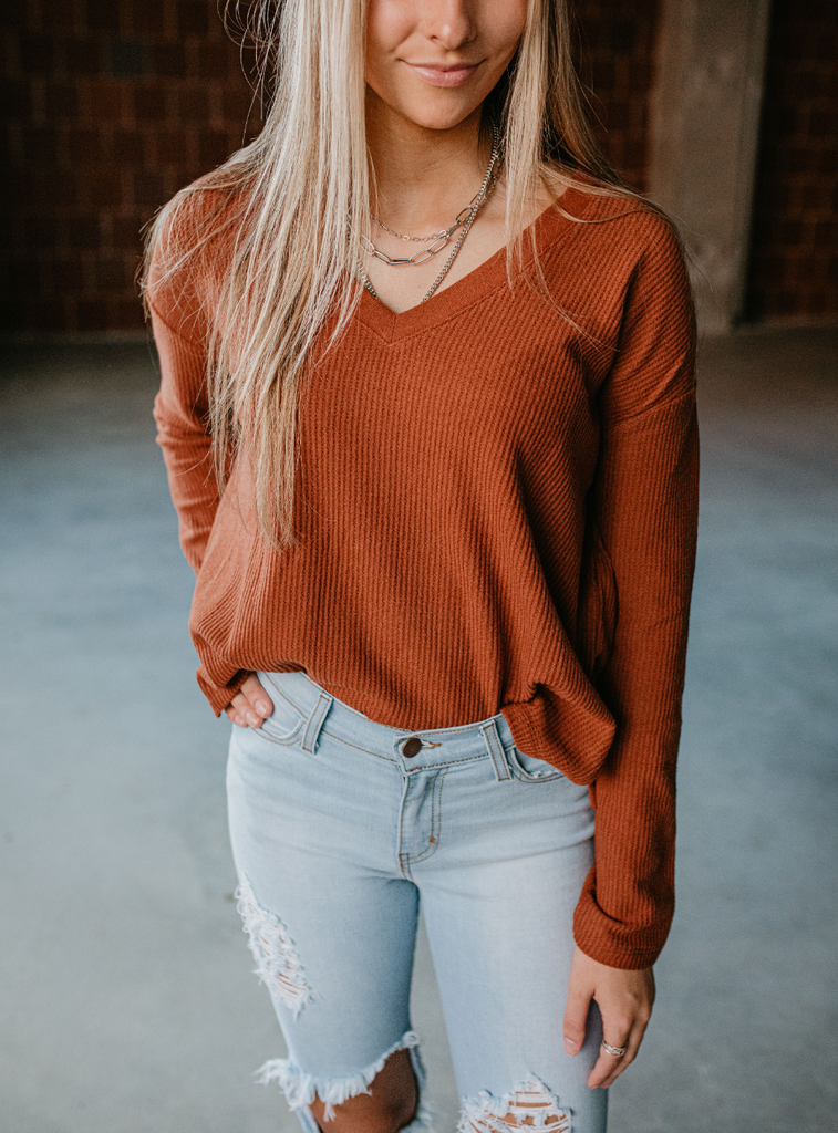 rust waffle knit top