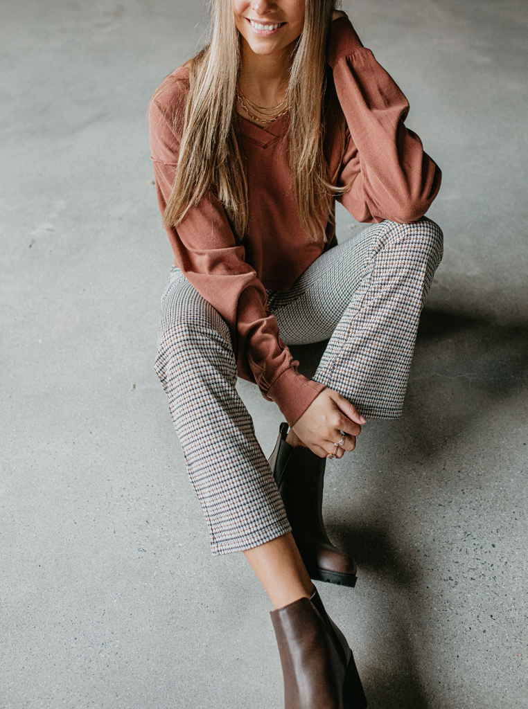 plaid flare pants