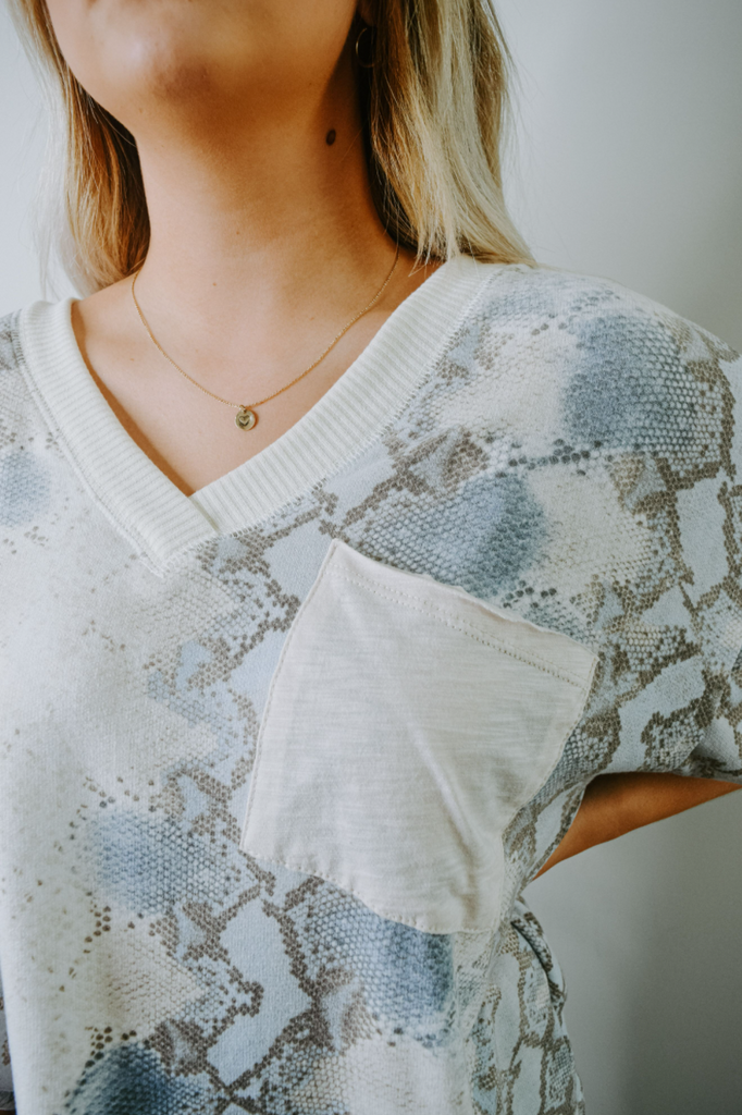 snakeskin short sleeve top